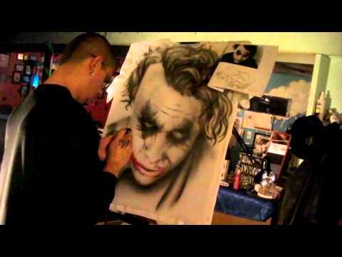 Time Lapsed Video Of Dark Knight Joker In Airbrush