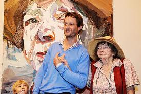 Ben Quilty with Margaret Olley and his portrait of her